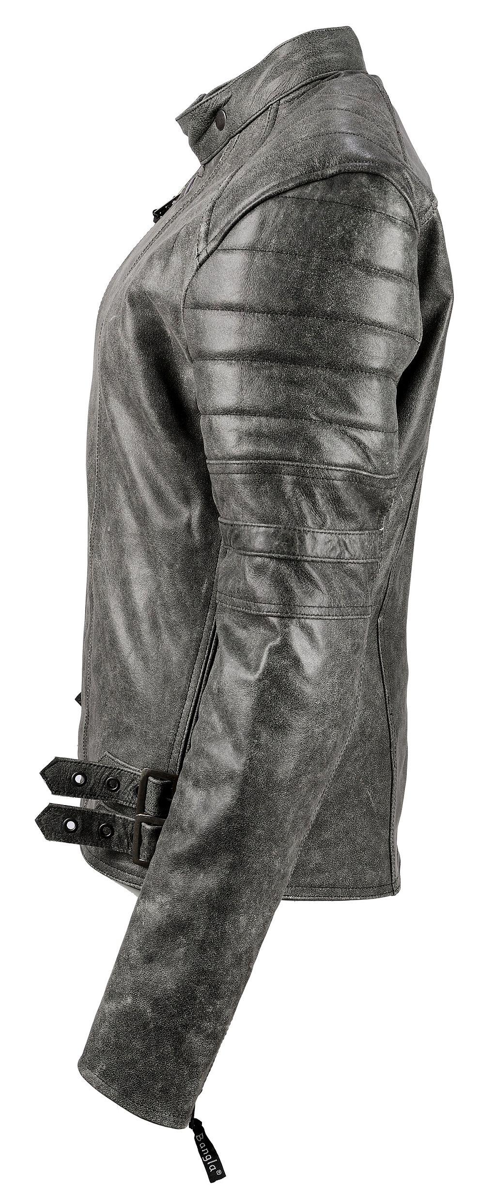 Motorradjacke Retro Klassik Jacke Lederjacke Chopperjacke Protektor Grau S-6 XL
