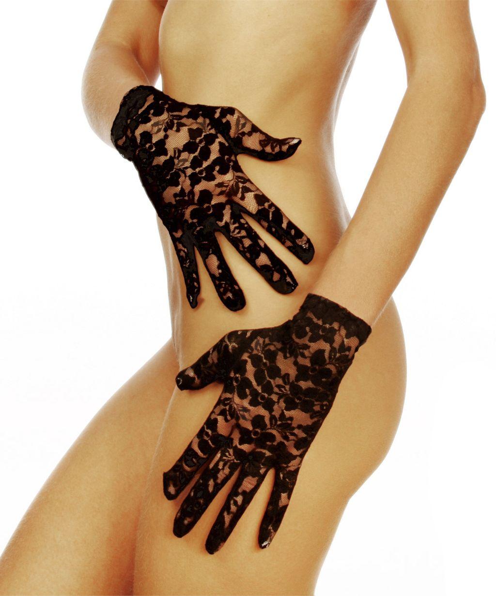 Sexy Spitzen Damen Handschuhe Kurz Hochzeit Fasching Halloween schwarz Neu