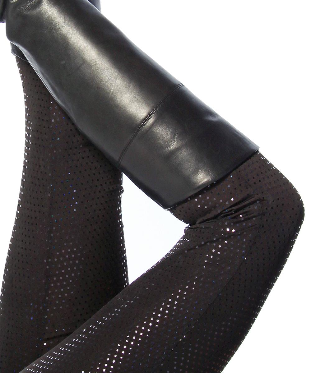 Damen Leggings Pailletten Glänzend Pants Schwarz 11714 Neu M L