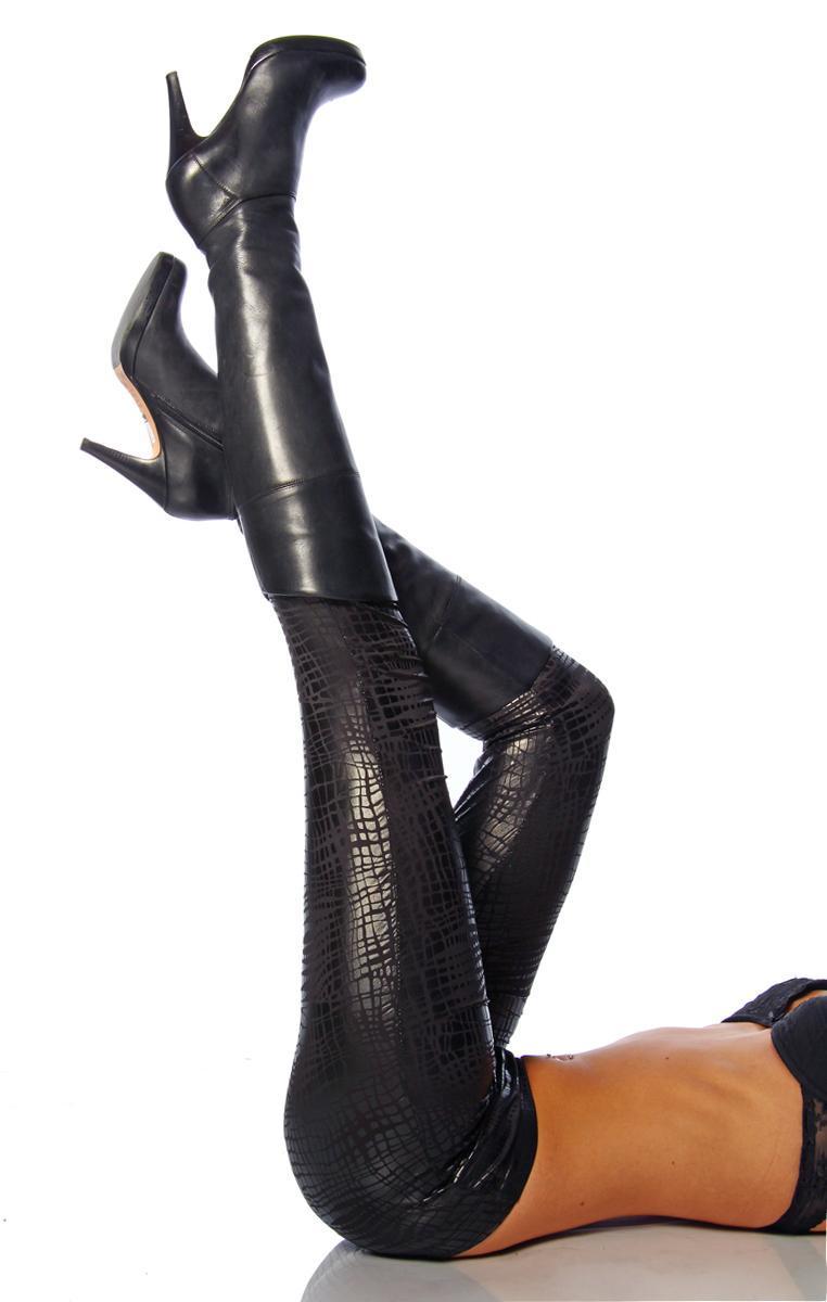 Damen Leggings im Kroko Look Glänzend Schwarz Sexy Look Neu Gr. S M L