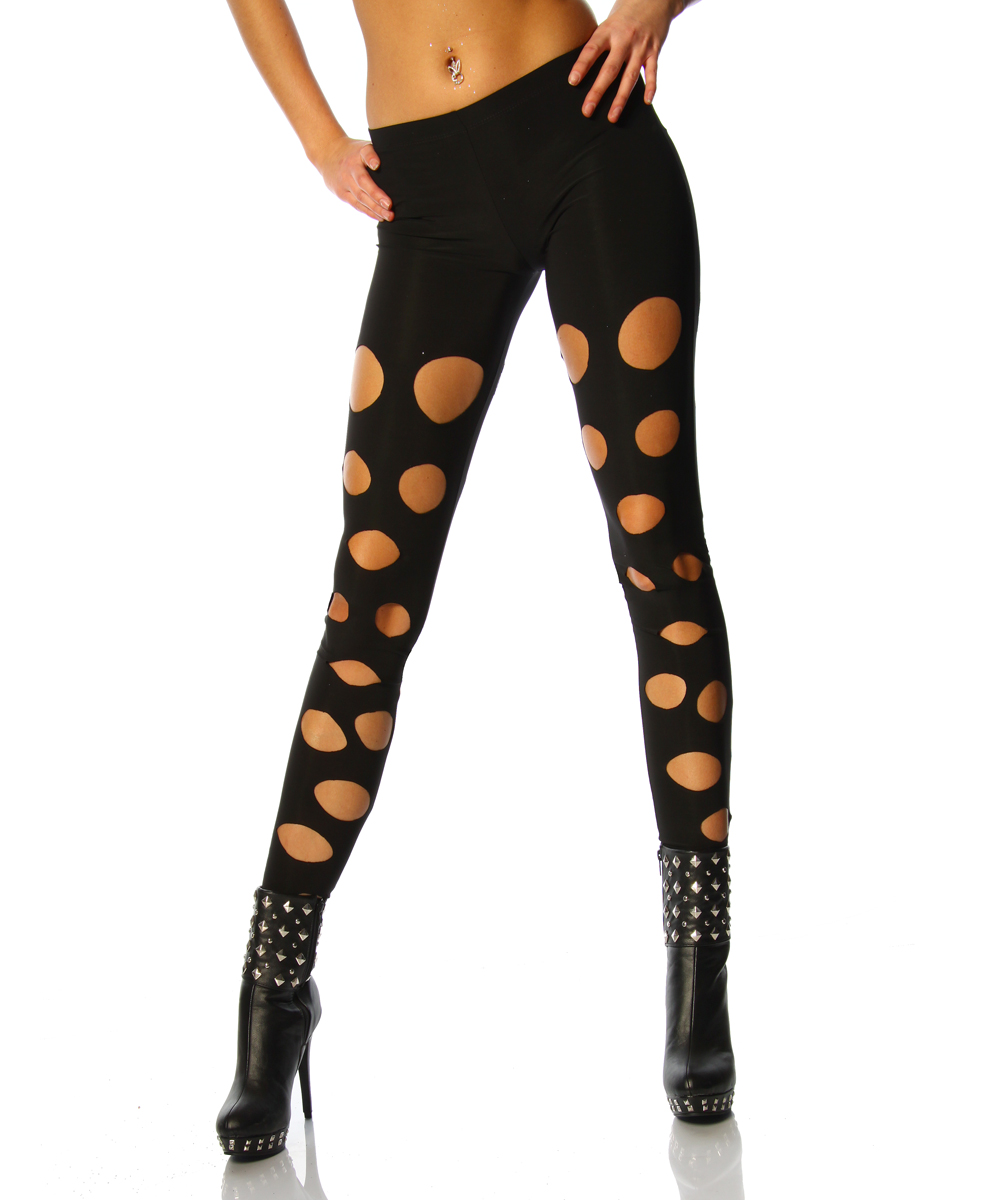Damen Leggings mit trendigen Cutouts Schwarz Sexy Look Neu Gr. S M L