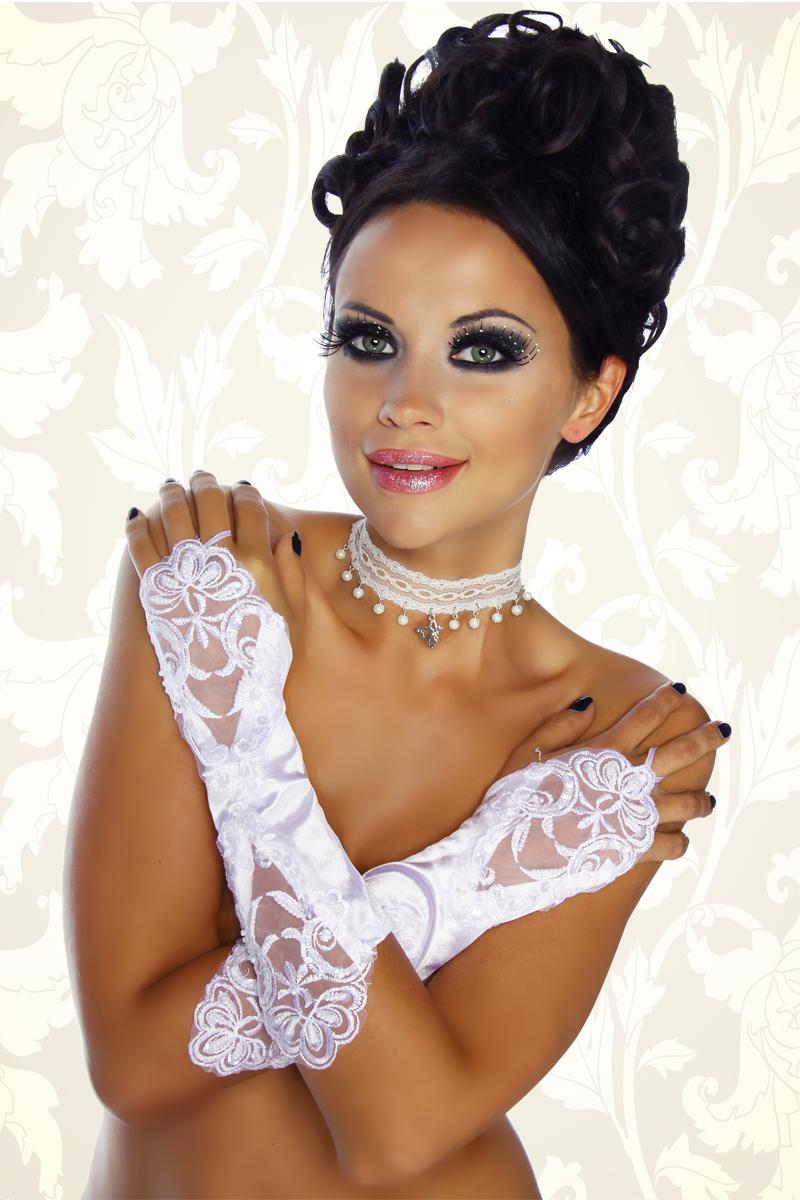 Damen Spitzen Handschuhe Kurz Stulpen Fasching Halloween Gothic Hochzeit Weiss
