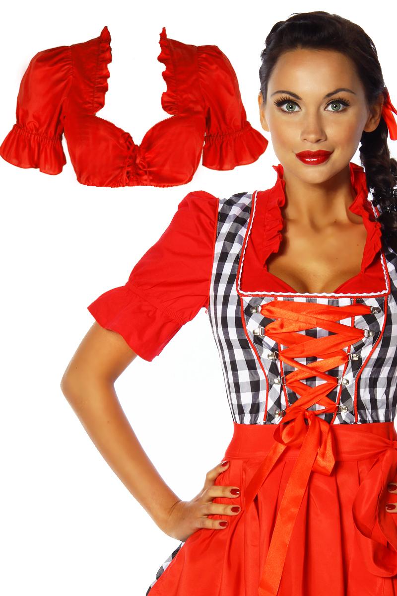 Rote Dirndlbluse Trachten Bluse Dirndl Oktoberfest Halbarm S-XL 36-42
