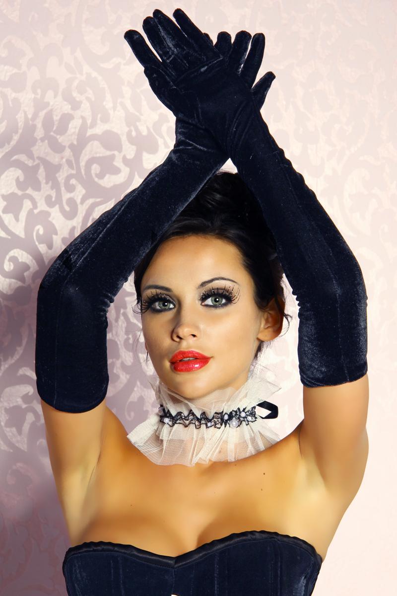 Damen Samt Handschuhe Abendkleid Karneval Lang Party schwarz one-size