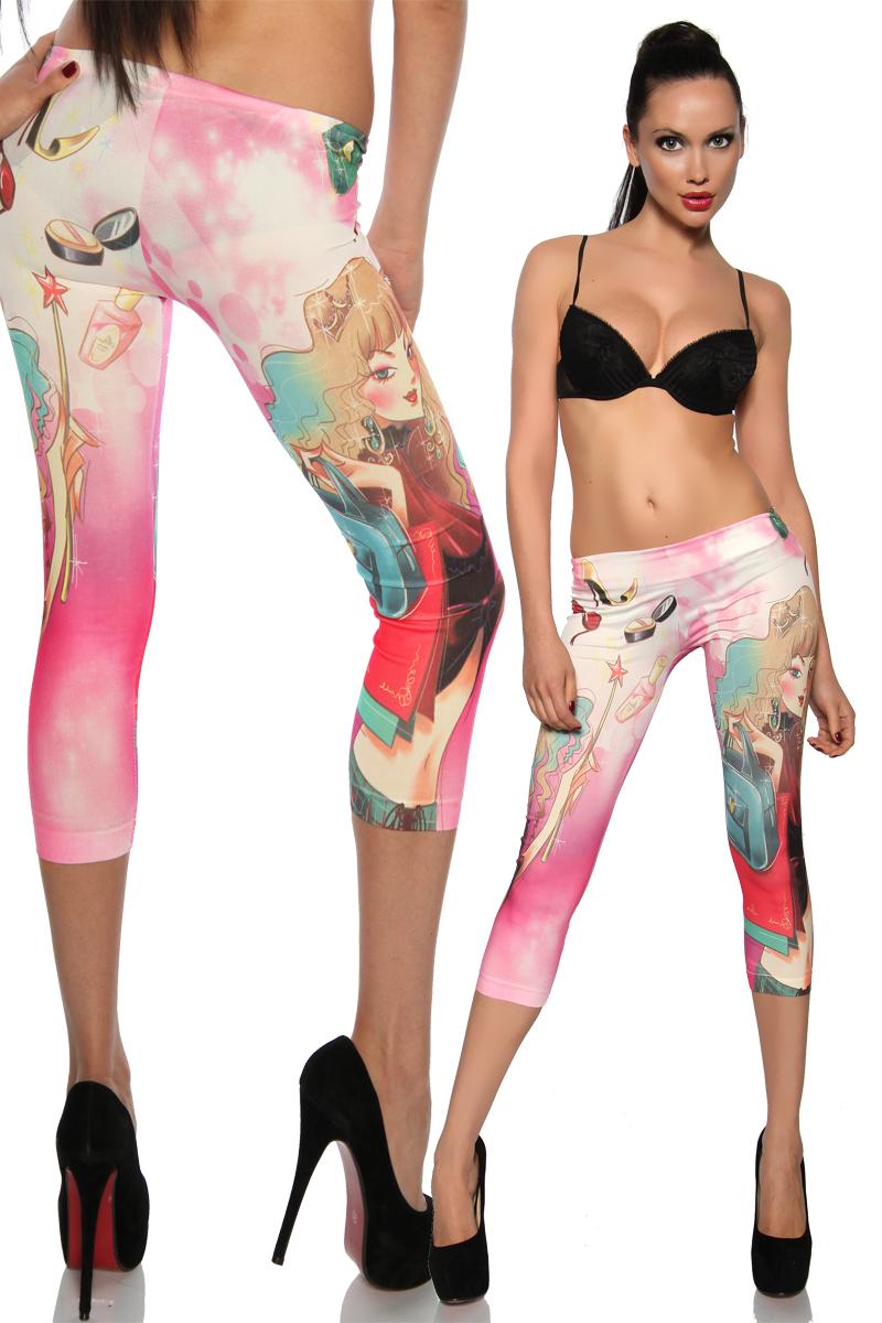 Caprihose Leggings pink bunt Neu One Size S - L