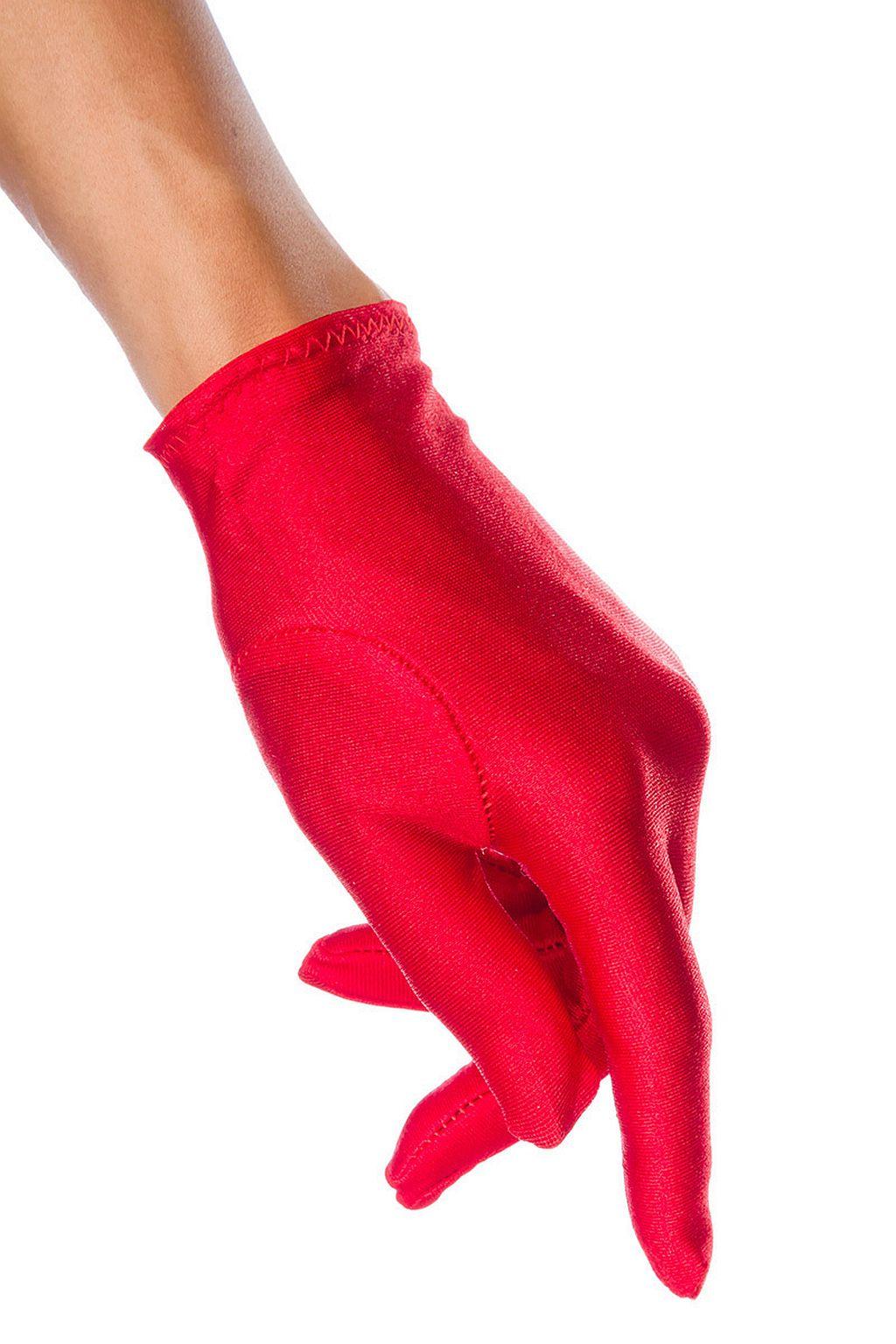 Sexy Satin Damen Handschuhe kurz Hochzeit Fasching Abendhandschuh Rot