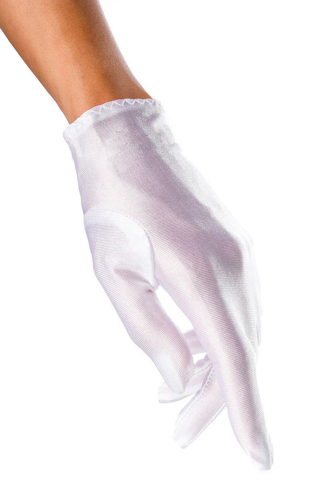 Sexy Satin Damen Handschuhe kurz Hochzeit Fasching Abendhandschuh Weiss