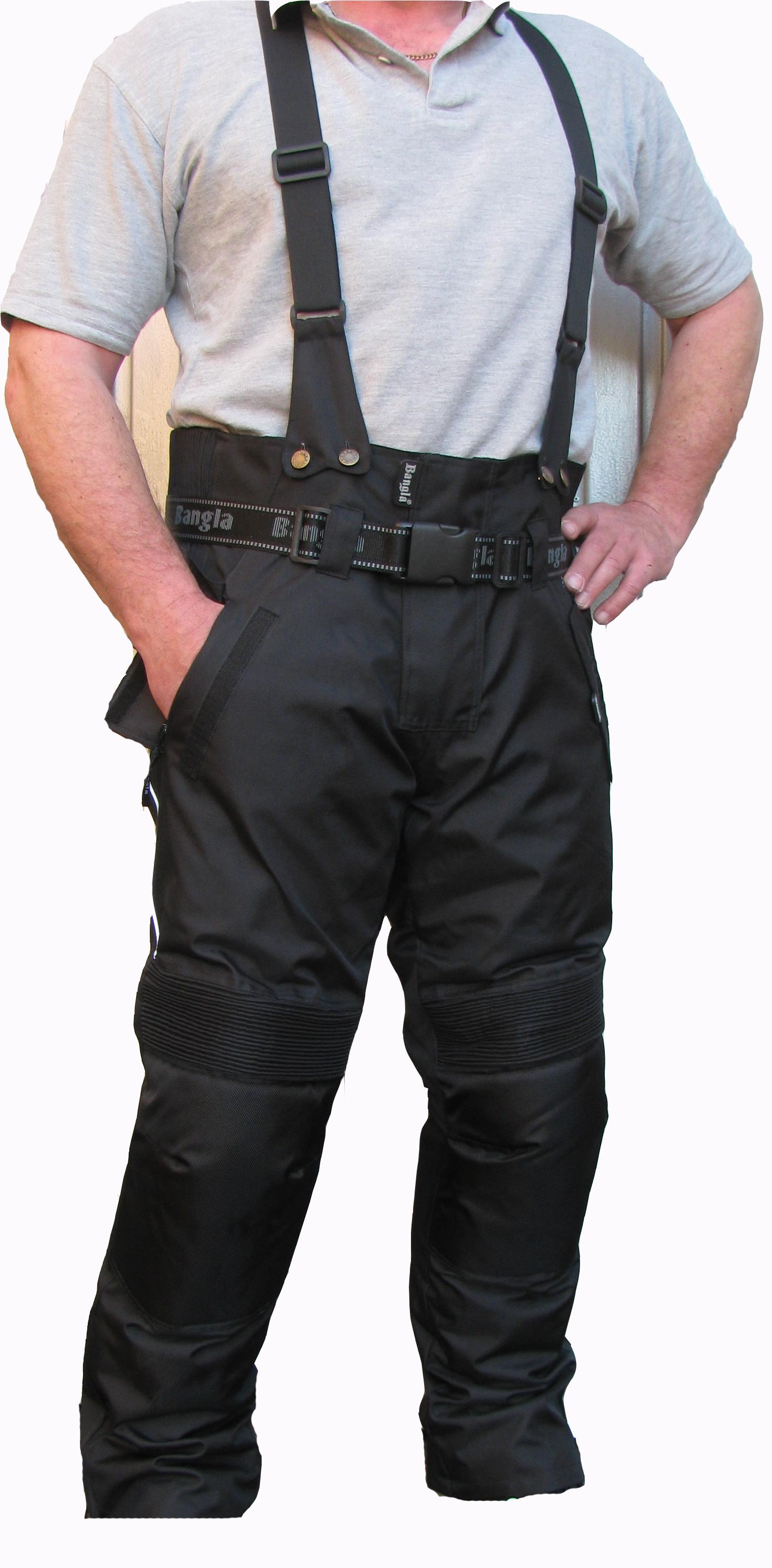 Bangla Motorrad Hose Cordura Schwarz Motorradhose mit Hosenträger 6 - 8 XL