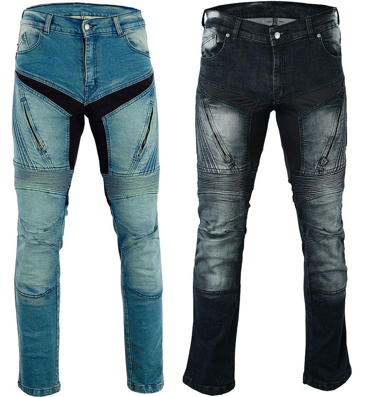 Herren Motorrad Jeans Motorradhose Denim mit Protektoren blau oder schwarz
