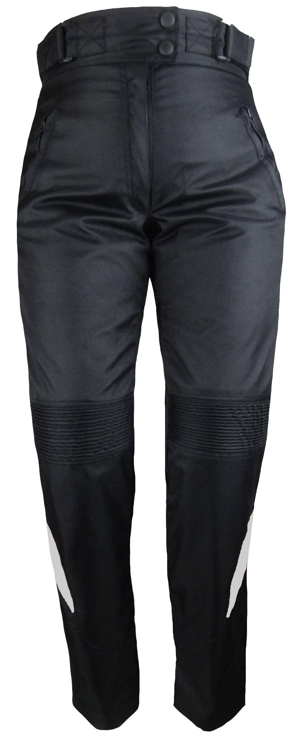 Damen Motorrad Cordura Textil Hose Schwarz mit Grau S M L XL XXL XXXL