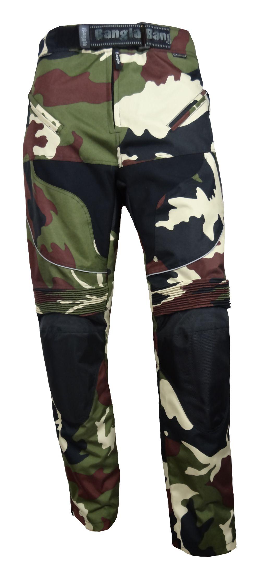 Motorradhose Herren Tourenhose Bangla Camouflage Gruen S bis 4 XL