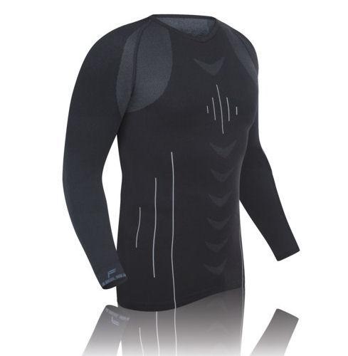 Funktions Unterhemd Langarm Herren Motorrad Ski Shirt Schwarz L XL XXL