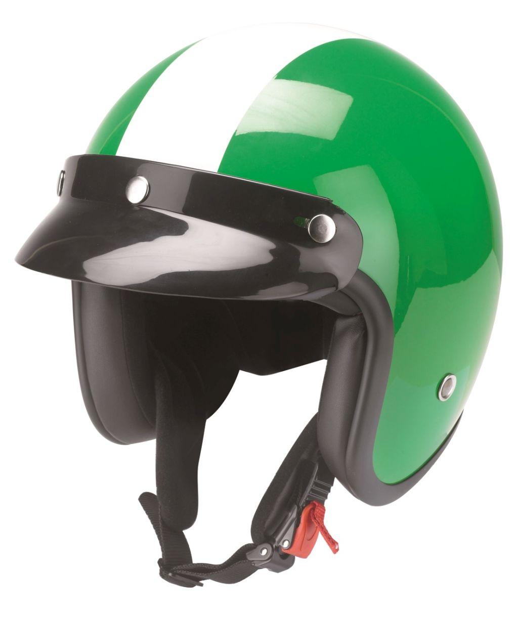 Kochmann Redbike Motorrad Jet Helm weiss grün mit ECE RB 753 Oldtimer XS - XXL