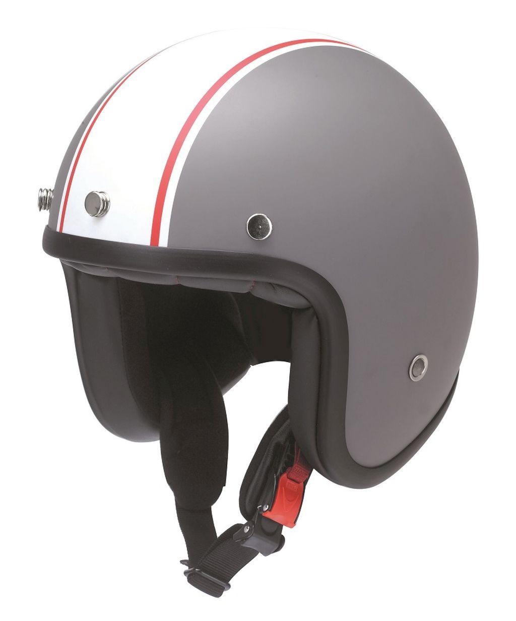 Redbike Motorrad Helm Jethelm Hot Rod Kochmann RB 754 matt-grau weiss XS - XXL