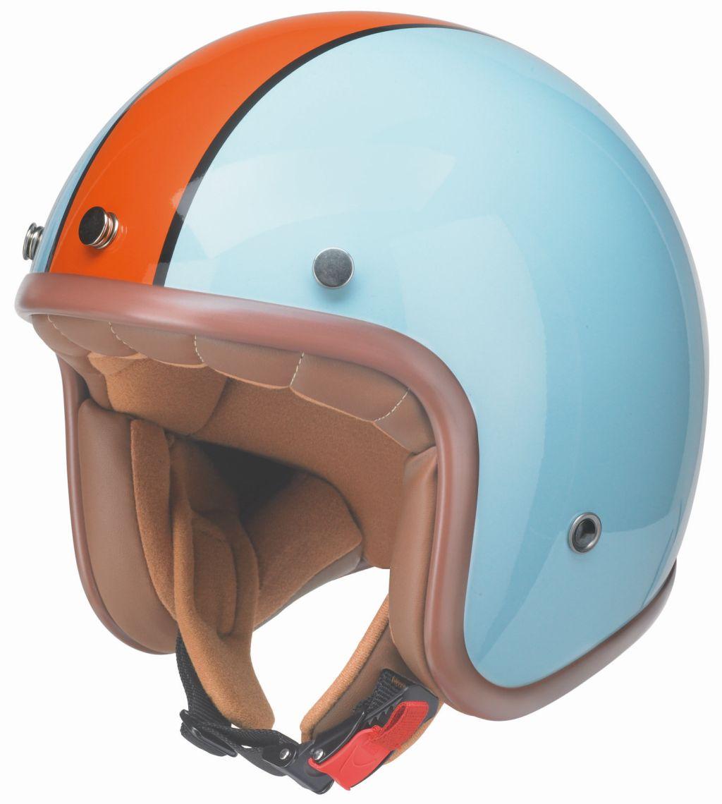 Kochmann Redbike Motorrad Jet Helm hellblau-orange ECE RB 764 Classic XS- XXL