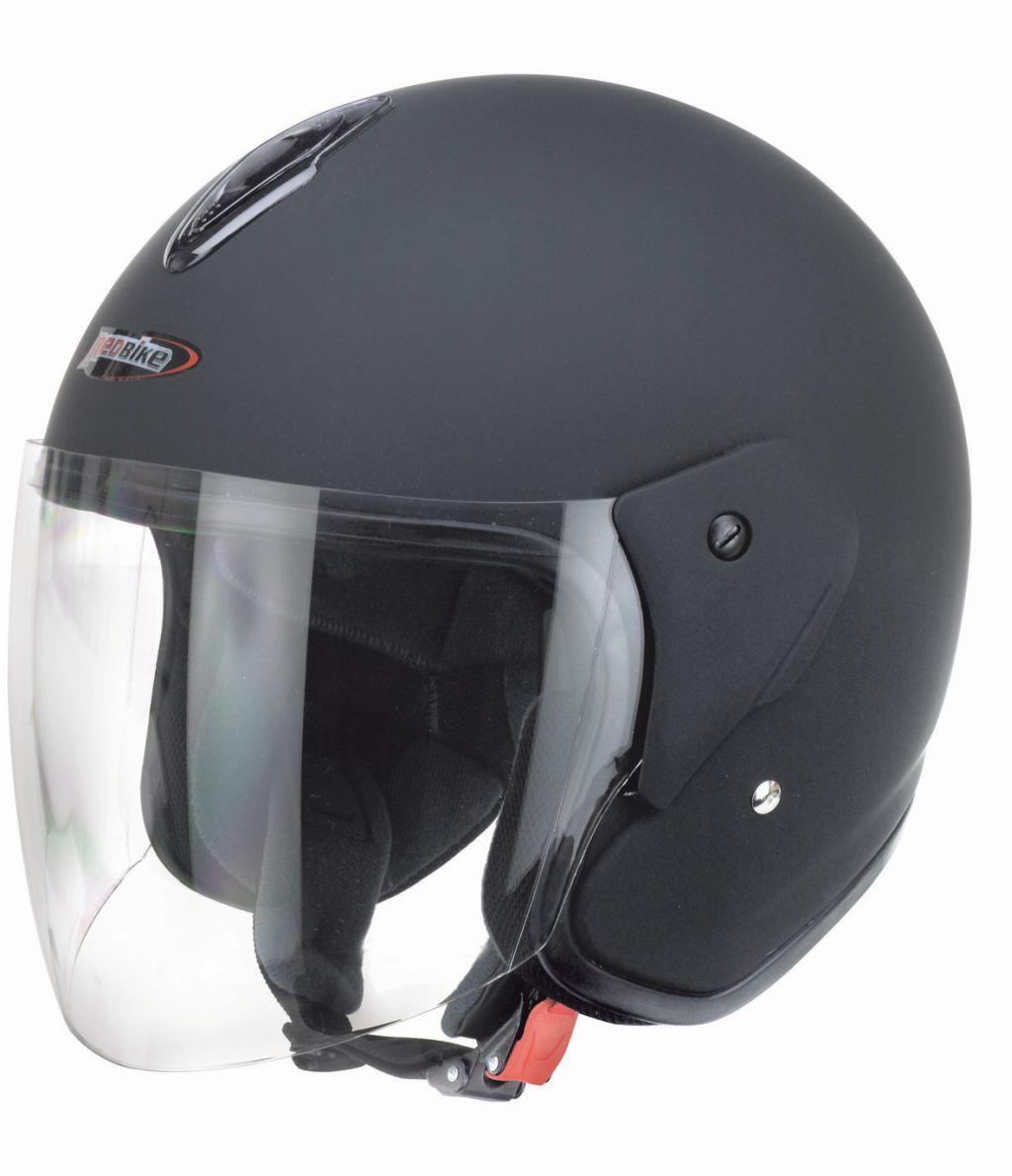 Redbike Motorrad Jet Helm Matt schwarz mit kratzfestem Visier RB 915 XS - XXL