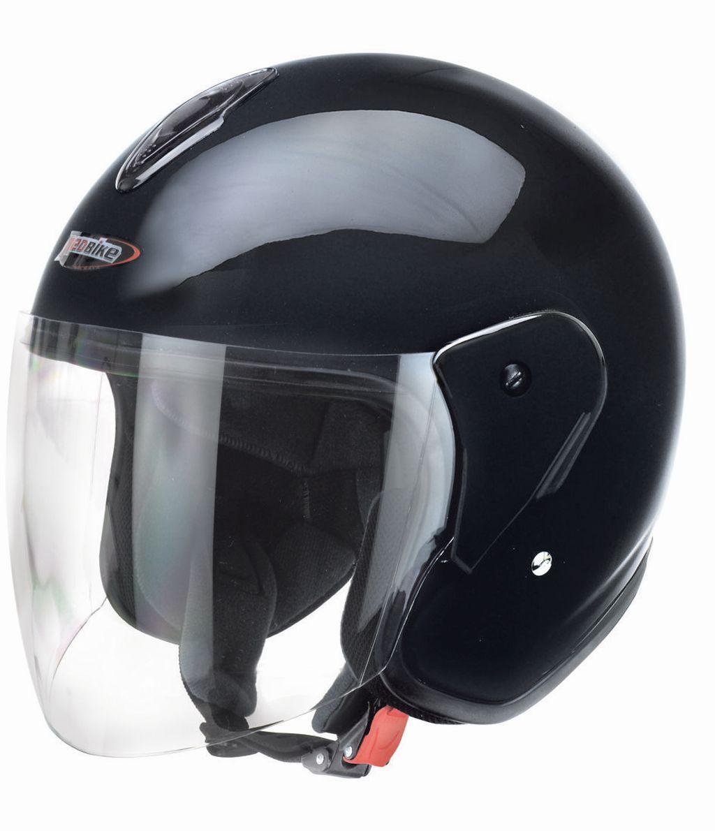 Redbike Motorrad Jet Helm schwarz mit kratzfestem Visier RB 915 XS - XXL