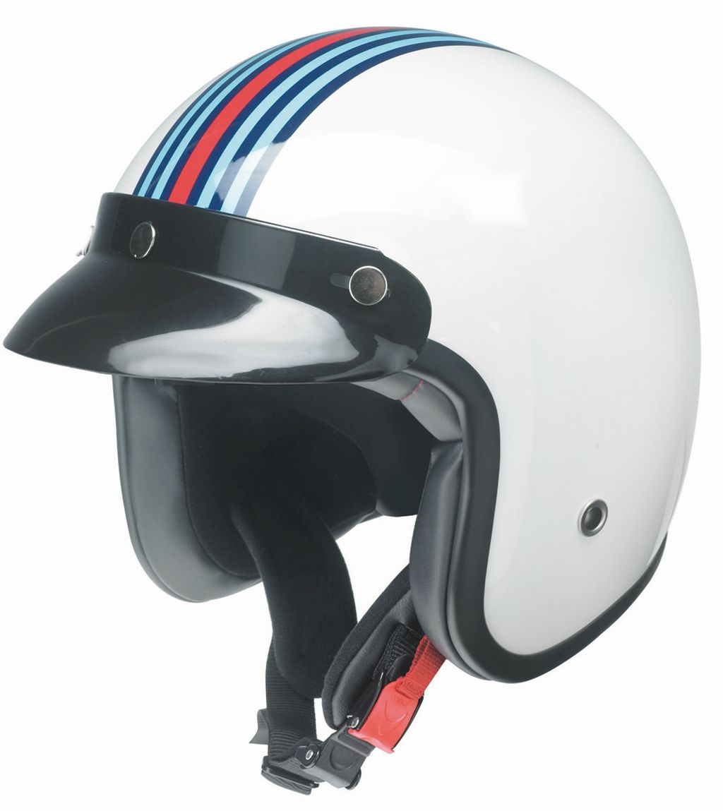 Redbike Motorrad Helm Jethelm Oldtimer Racing Kochmann RB 768 blau weiss XS-XXL