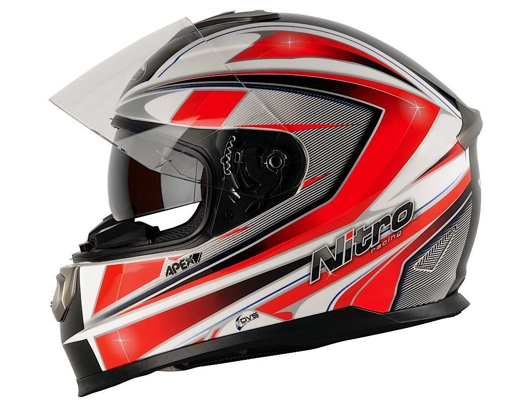 nitro apex 1100 dvs motorrad helm motorradhelm weiss rot. Black Bedroom Furniture Sets. Home Design Ideas