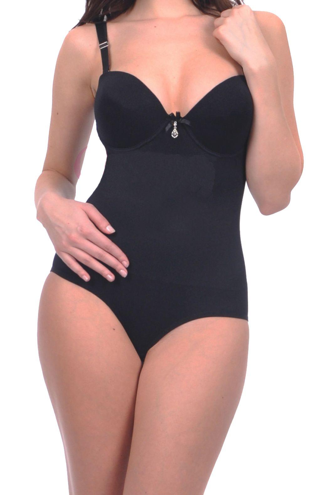 Mieder Body Shapewear Bodysuit mit Push up BH 0181 schwarz weiss haut S/M - L/XL