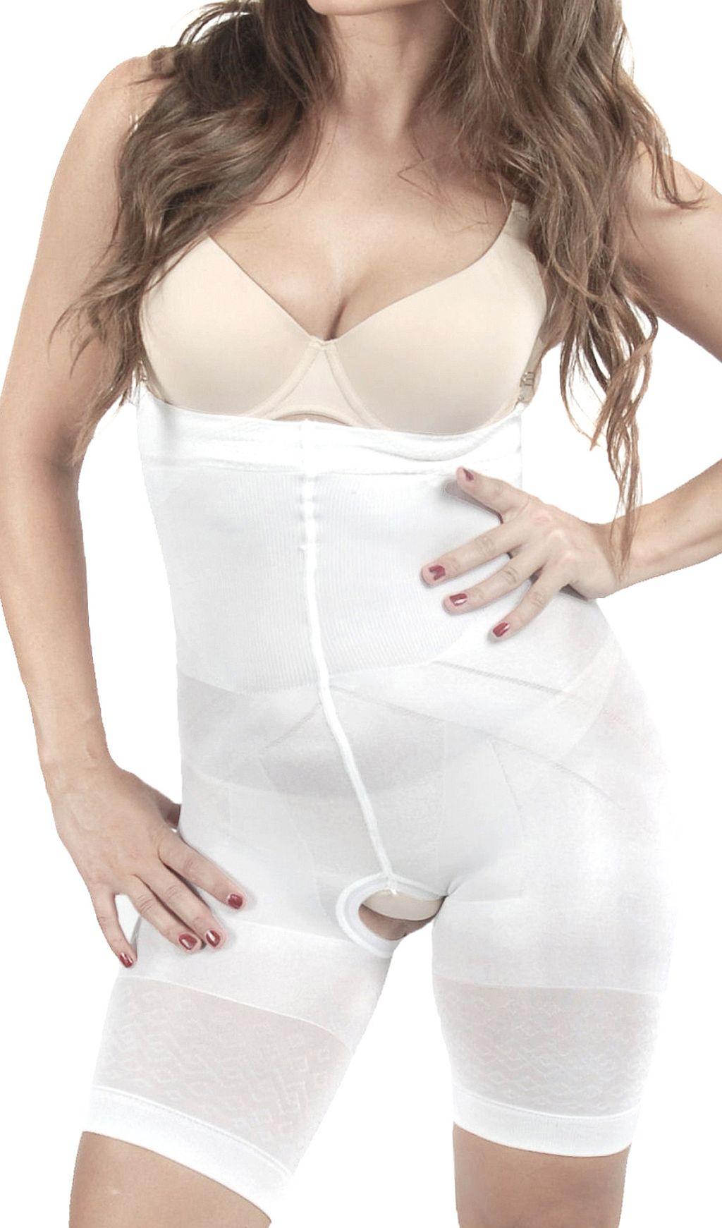 OriRose Damen Miederhose Panty Slim Comfort offener Schritt Weiß S-XXXL