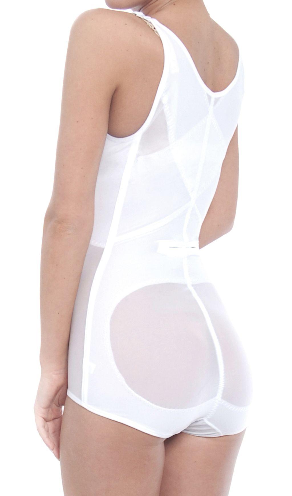 Damen Miederbody Mieder Shapewear Sommer Body Korselett 3003 weiß 36-42