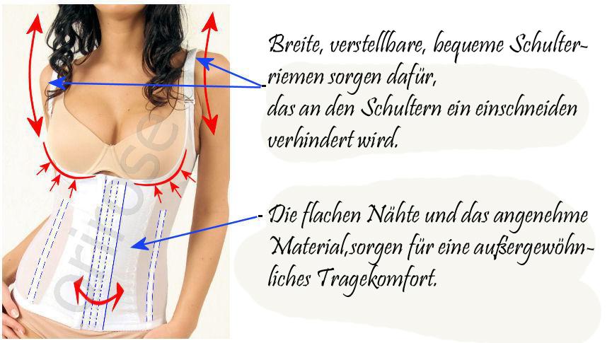 Damen Mieder Taillenmieder Hemd Bauchweg Shapewear schwarz S-XXXL 3004