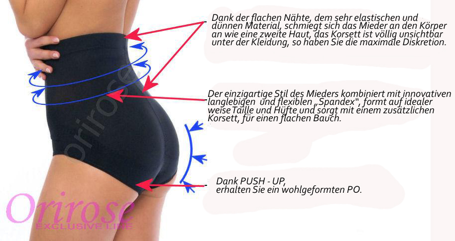OriRose Damen Push-Up Magic Miederhose Unterwäsche 3006 Haut S-XXXL
