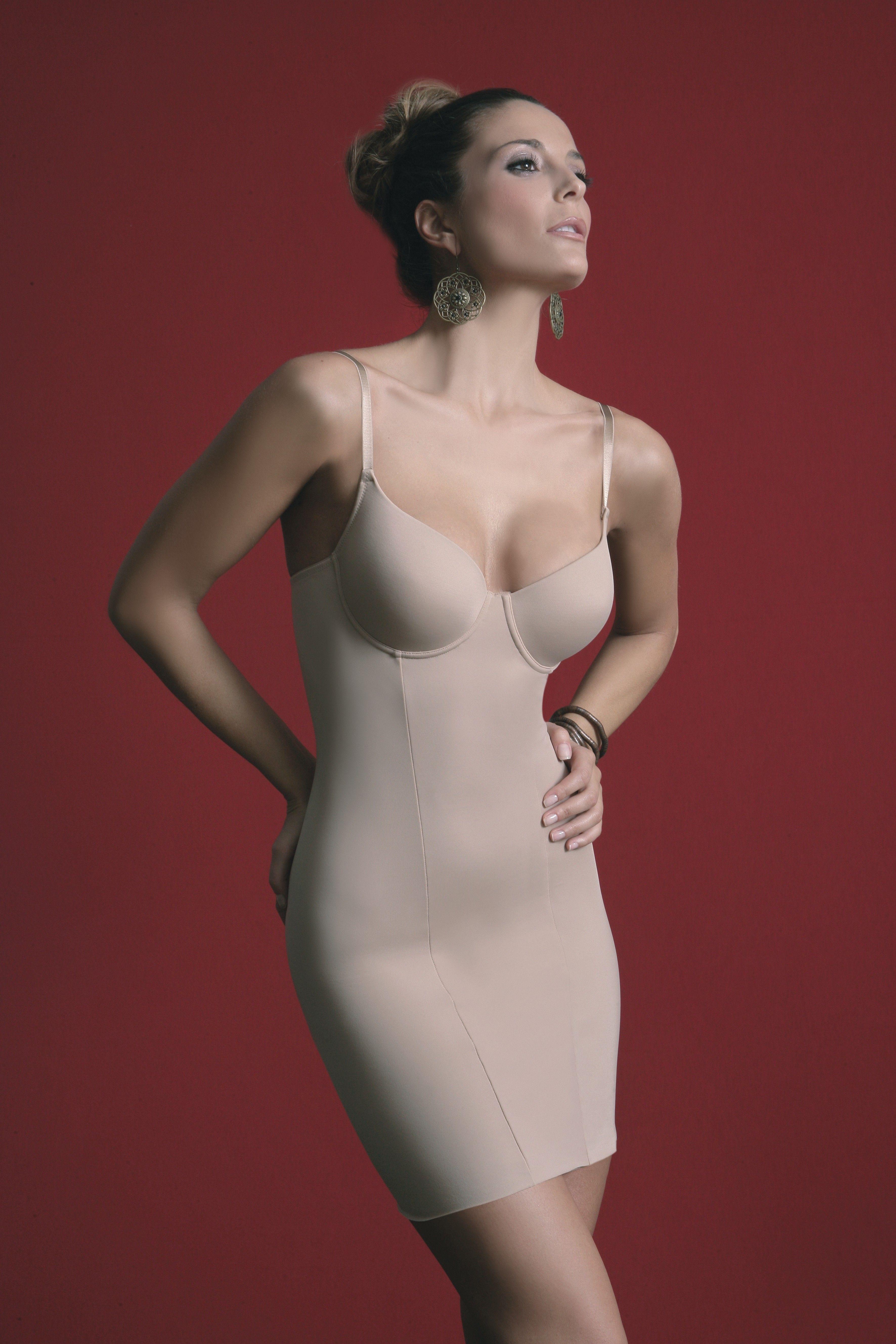 Damen Miederkleid Unterkleid Longshirt Shapewear Schwarz haut B-D 75-95