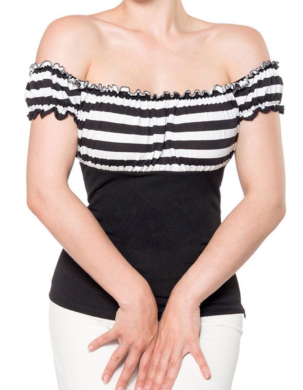 Jersey Top Retro Style Schulterfrei schwarz weiss stripe S - XXXL