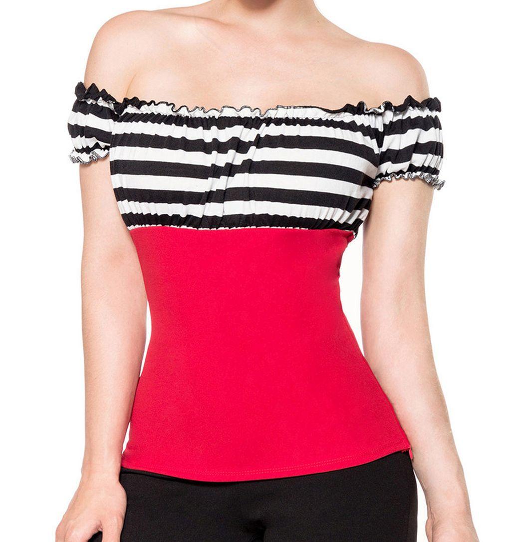Jersey Top Retro Style Schulterfrei rot schwarz weiss gestreift S - XXXL