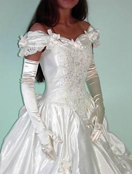 Modana Damen Satin Handschuhe lang weiss Hochzeit Fasching Party Halloween