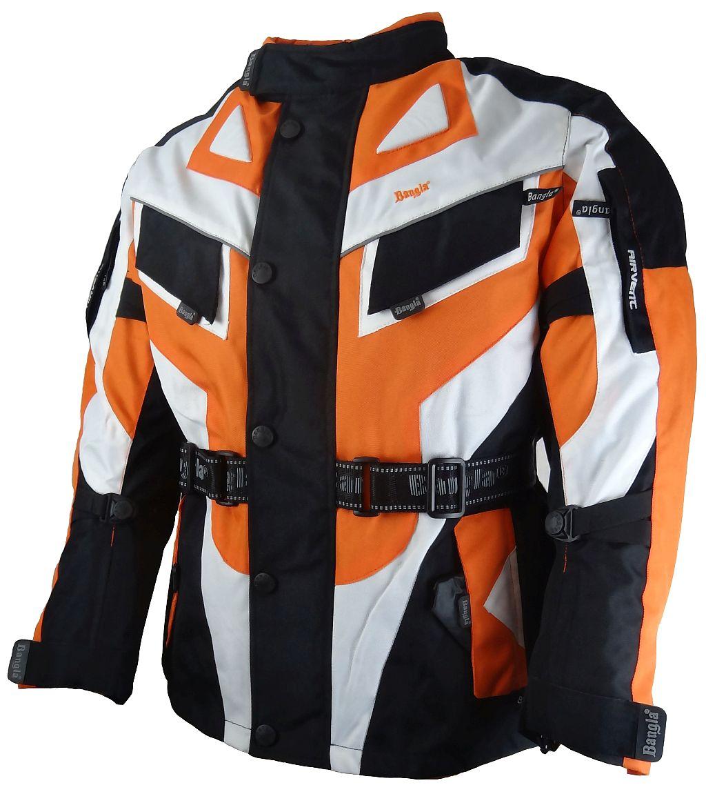 Bangla Kinder Motorrad Textil Jacke Cordura schwarz weiss orange 128 - 176