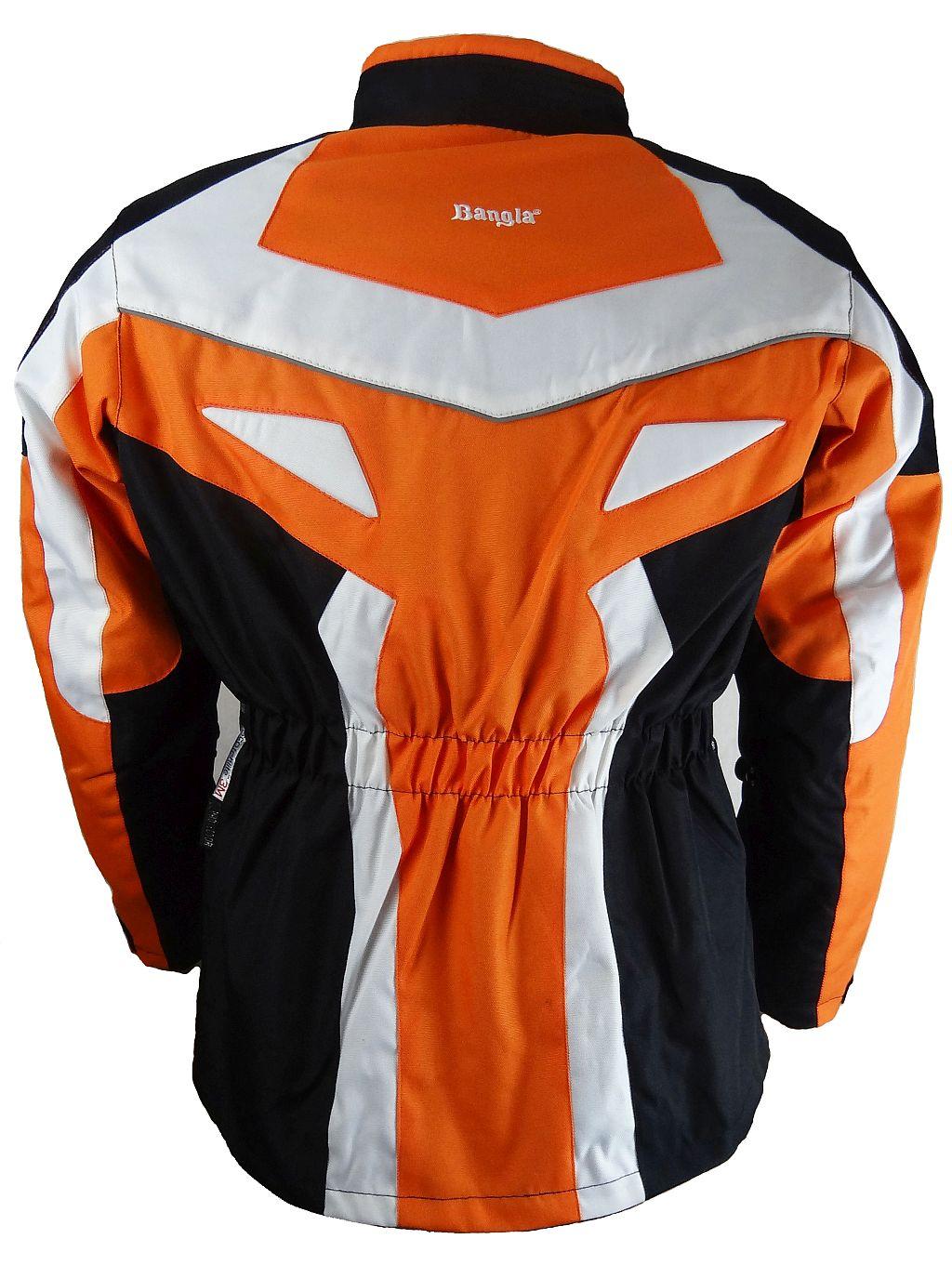 Kinder Motorradjacke Motorrad Textil Jacke Cordura orange schwarz weiss 128-176