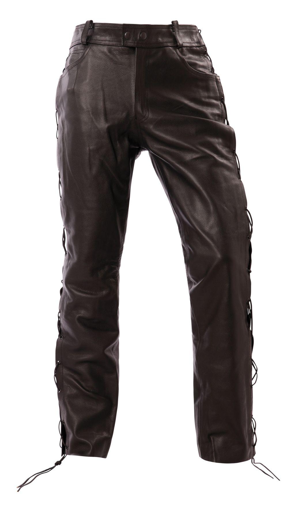 Motorrad Schnürjeans Leder Jeans Biker Hose Schwarz 36 - 46