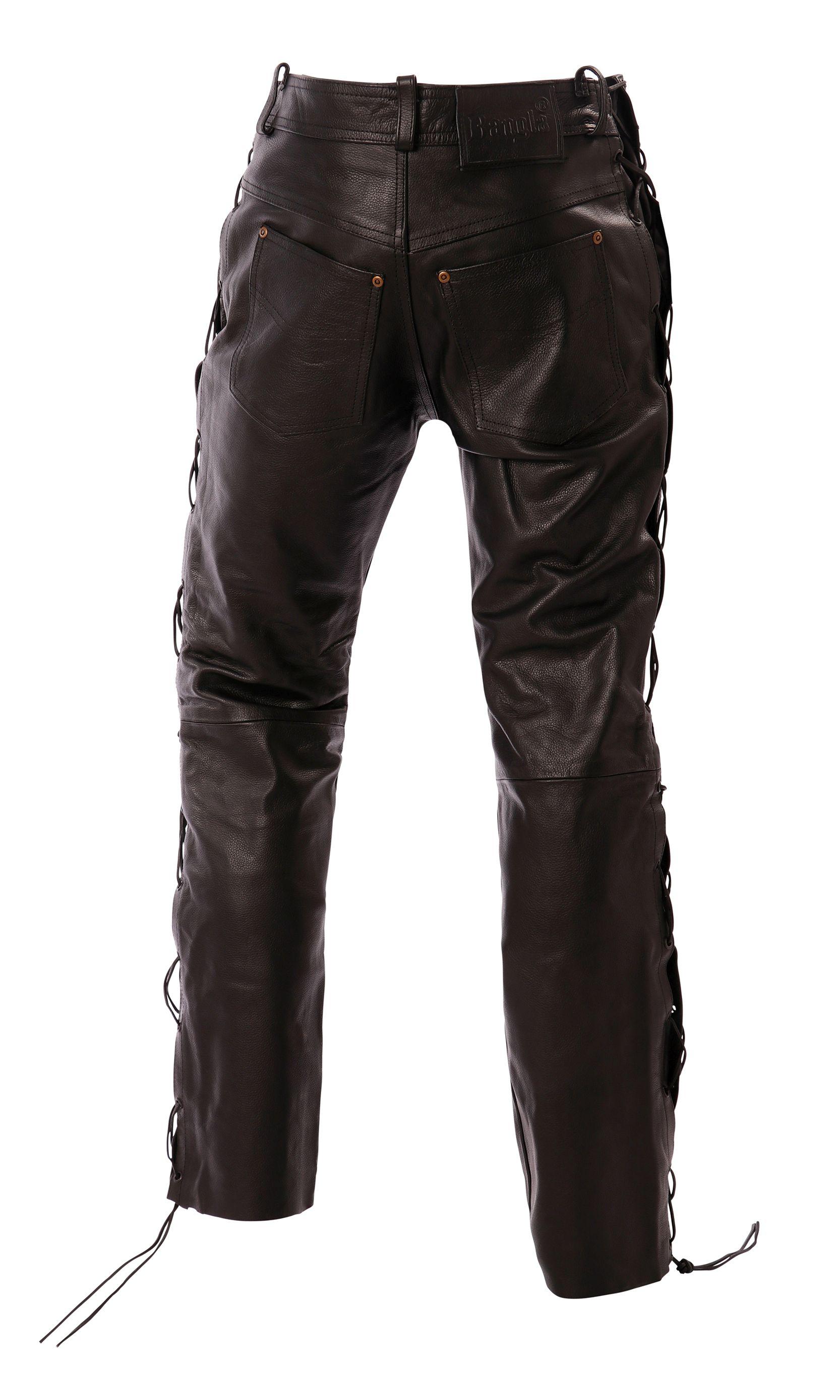 Bangla Schnürjeans Lederhose Bikerjeans Hose Schwarz 29 - 34 inch
