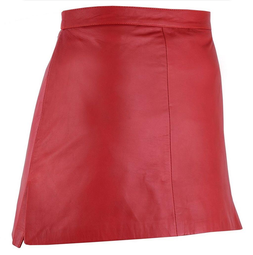 Damen Mini Lederrock Lamm Nappa Leder Rock kurz schwarz rot karamell 36 - 50