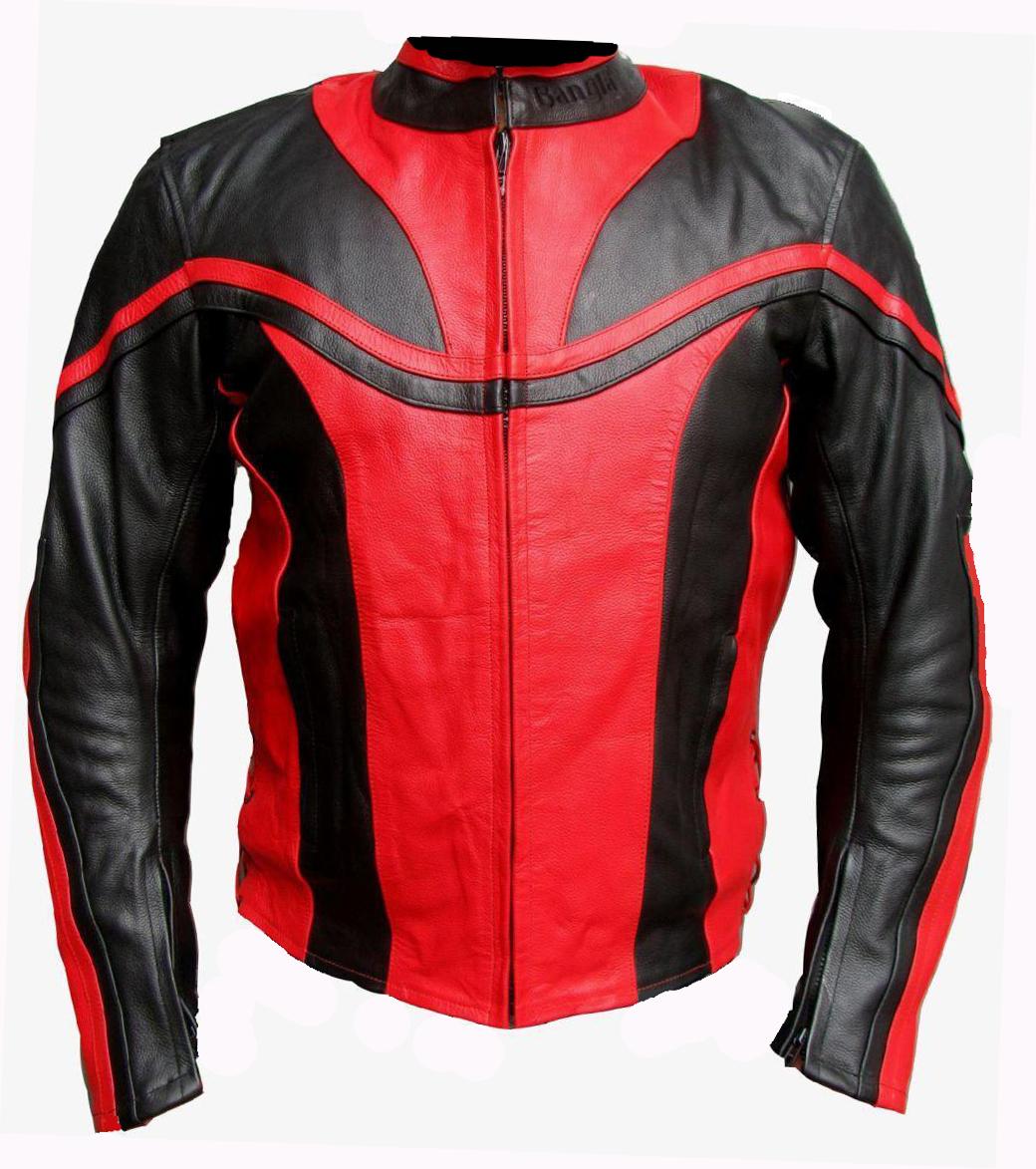 Motorrad Jacke Lederjacke Rot Schwarz Racing Leder M L XL XXL