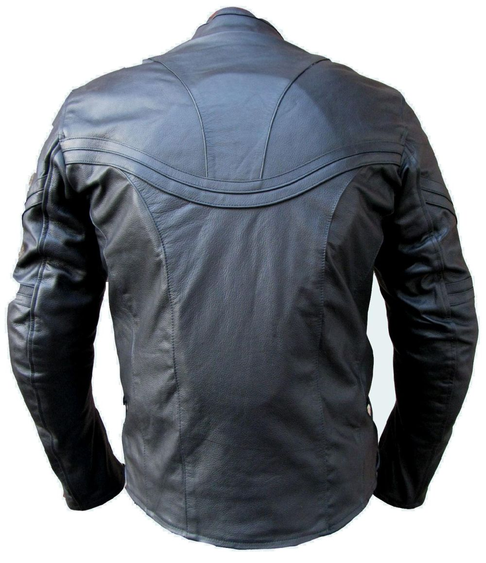 motorradjacke jacke herren motorrad lederjacke schwarz leder m xxxl. Black Bedroom Furniture Sets. Home Design Ideas