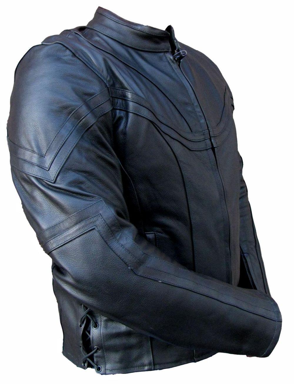 Motorradjacke Jacke Lederjacke Schwarz Leder mit Schnürung Gr. M - XXXL
