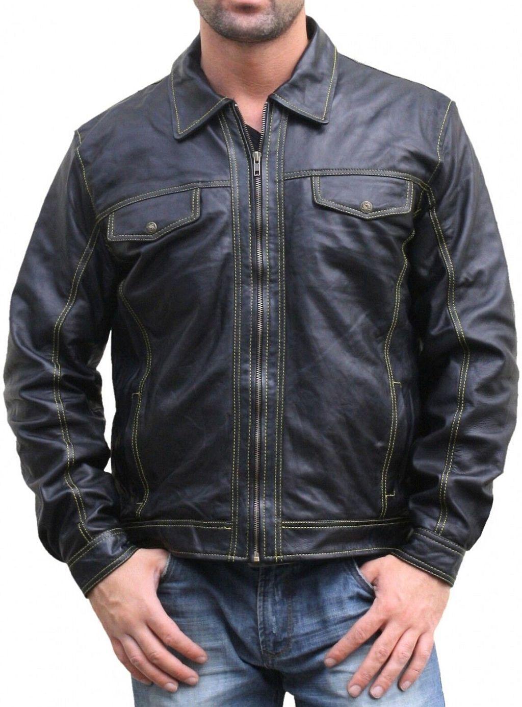 Lederjacke Jacke aus Lamm Nappa Leder Schwarz 48 - 60 / M - 5 XL