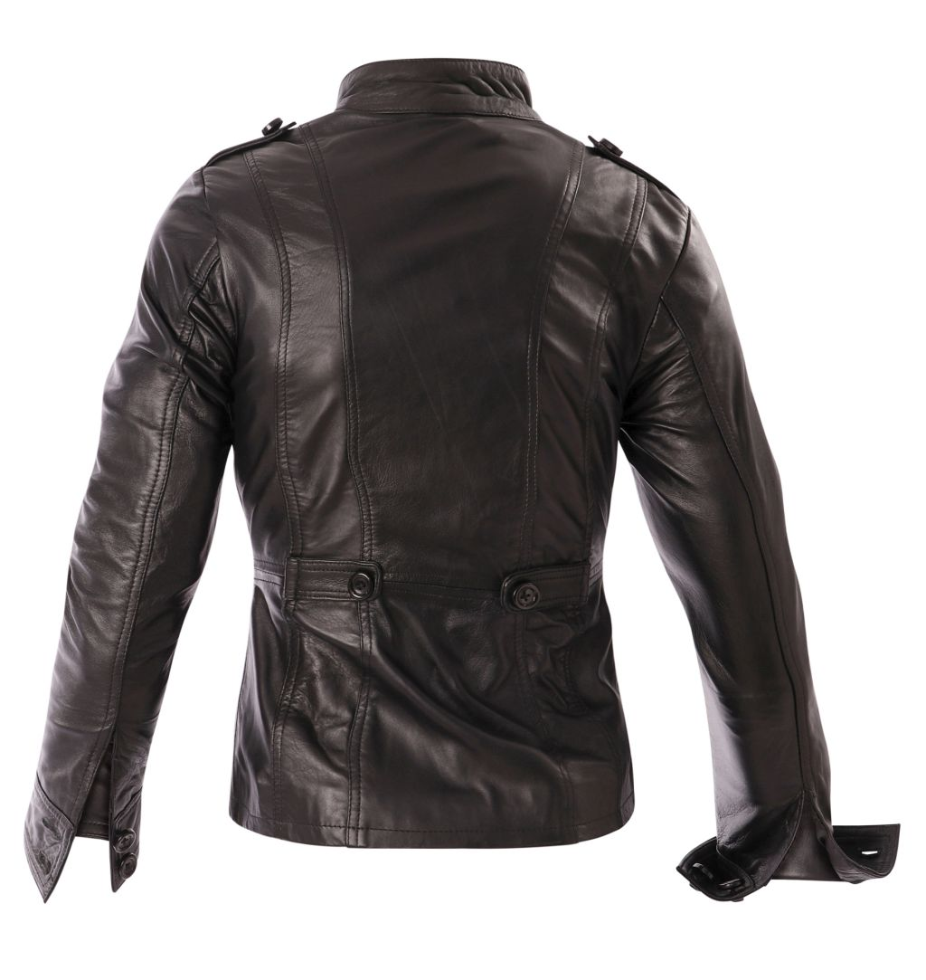 Damen Lederjacke Damenjacke Leder Schwarz Stehkragen Bangla 36-44