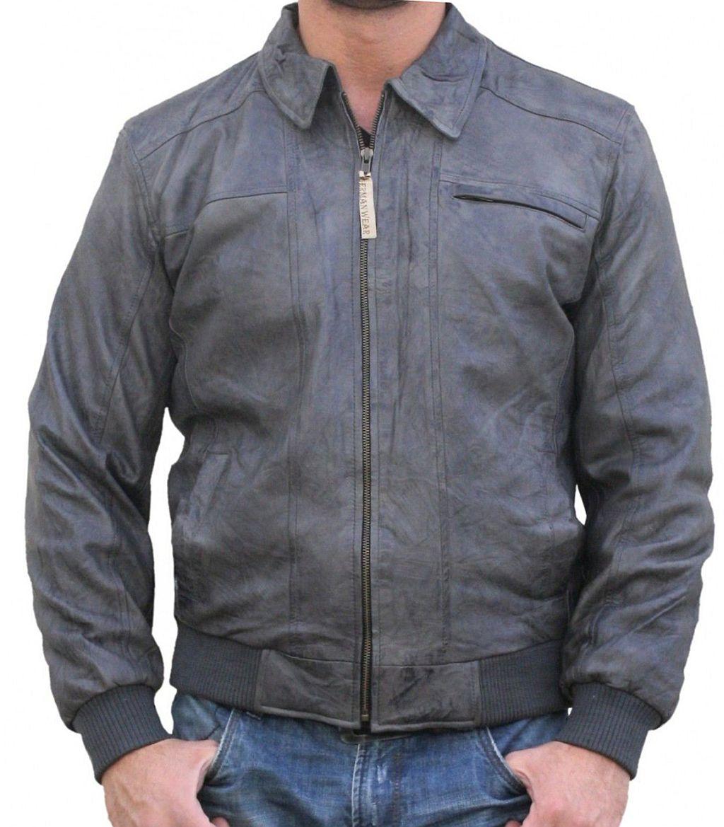 Lederjacke Jacke aus Lamm Nappa Leder Grau 48 - 60 / S - 5 XL