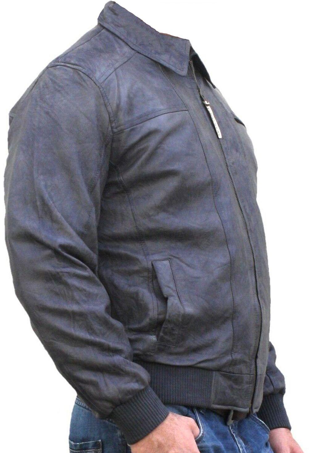Herren Lederjacke Jacke Lamm Nappa Leder Grau 48 - 60 / S - 5 XL