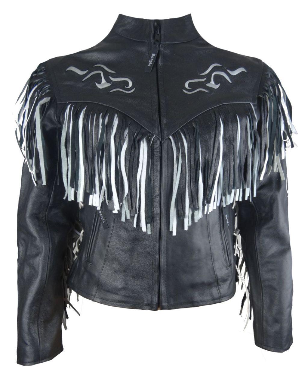 bangla veste femmes veste en cuir moto noir blanc western. Black Bedroom Furniture Sets. Home Design Ideas