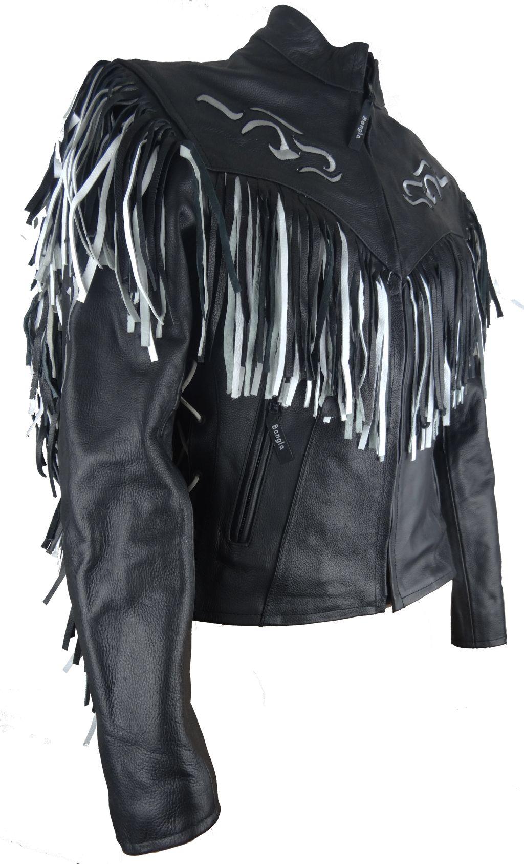 bangla veste femmes veste en cuir moto noir blanc western quitation. Black Bedroom Furniture Sets. Home Design Ideas