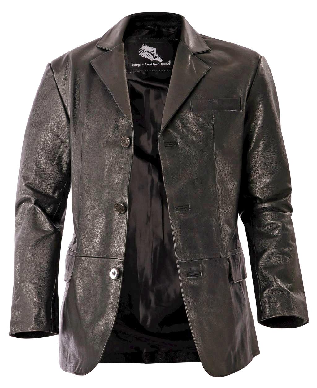 Bangla Herren Leder Jacke Blazer Lederjacke Herrenjacke Schwarz S-7 XL