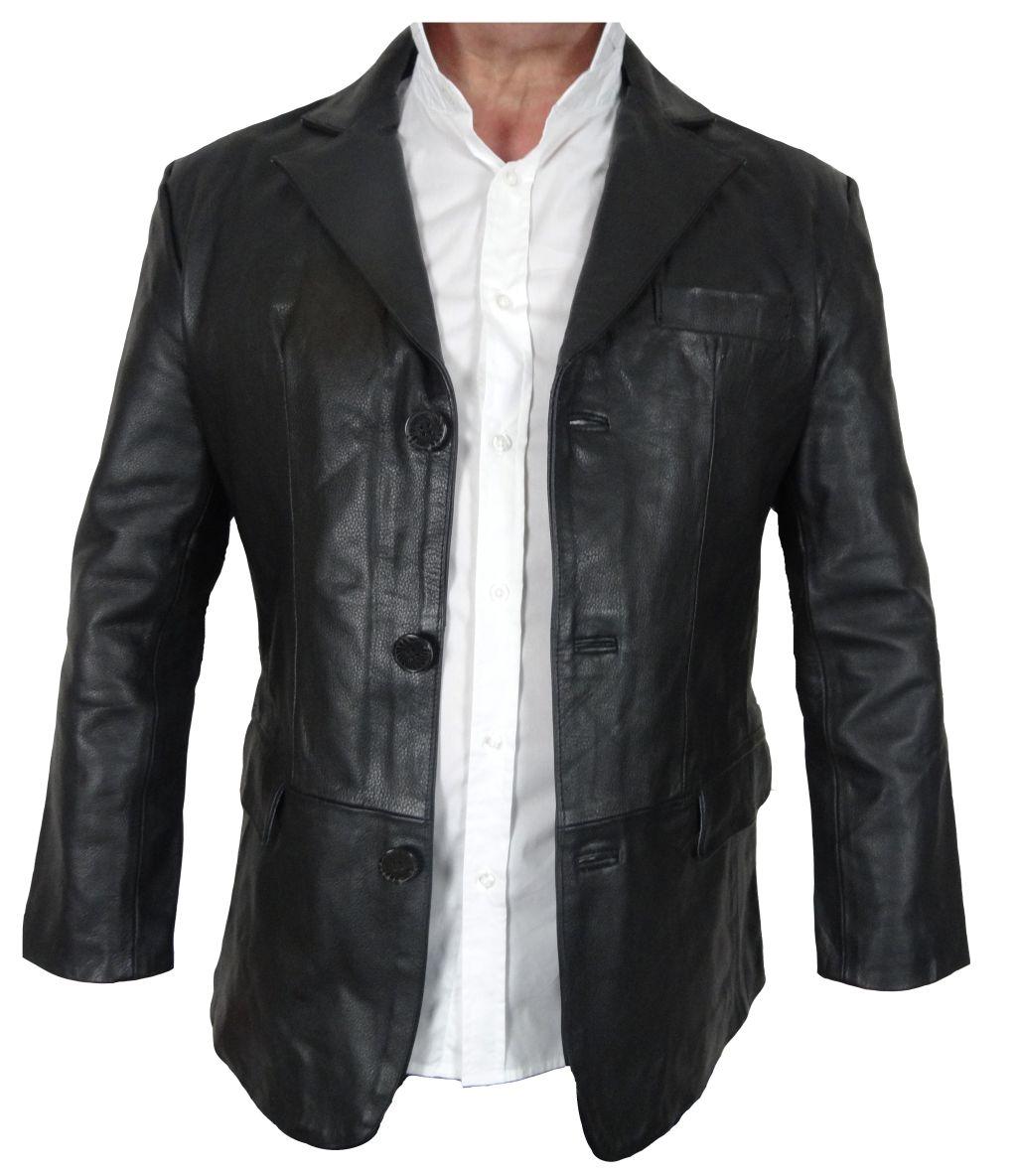 bangla herren leder jacke blazer lederjacke sakko schwarz m 6 xl. Black Bedroom Furniture Sets. Home Design Ideas