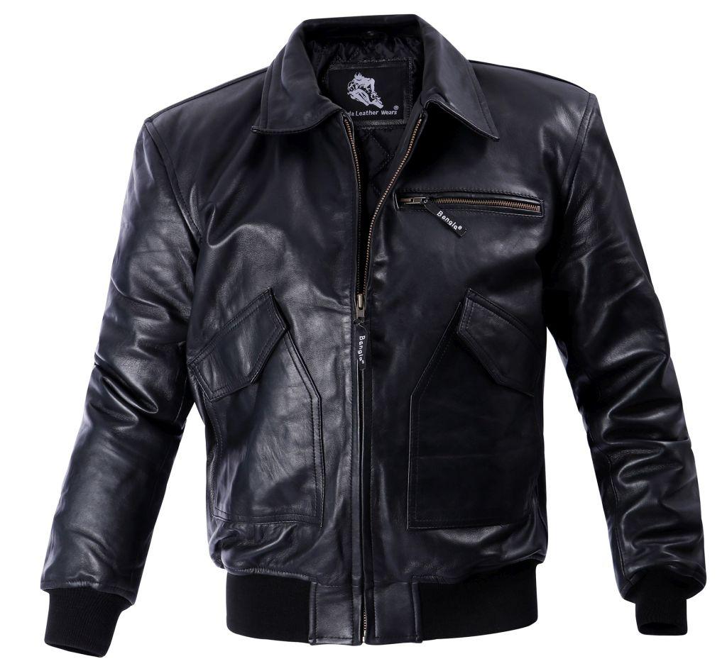 Bangla Herren Lederjacke Leder Blouson Jacke Schwarz  M - 5 XL