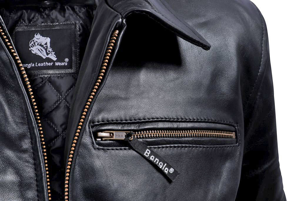 Bangla Herren Lederjacke Leder Jacke Blouson Schwarz M - 6 XL